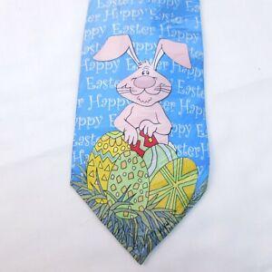 Keith Daniels 100% Silk Light Blue Easter Bunny Print Tie Novelty Rabbit