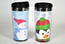 Pair Essential Home 16 Oz. Holiday Travel Mug Snowman Penguin Insulated Tumblers