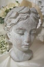 Bust Stature Sculpture Grey Shabby Vintage Landhaus Garden Decoration