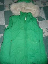 Girls size Lg 10-12 Line Green with Sparkles  Faux Fur Line Hoodie Quilted Vest