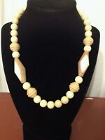 "Vintage 1980's Wood And Acrylic Necklace, 19"" Light Colored Beaded Necklace"