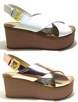 SOLDINI scarpe sandali donna aperti alti casual pelle zeppa tacco cinturino