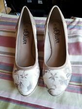 BNWB Oliver Beige Flower Mid Heel Shoes UK 6.5