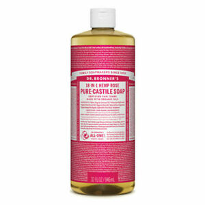 Dr Bronners Pure Castile Soap Liquid (Hemp 18-in-1) Rose 946ml - vegan