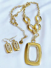 Alfani Necklace & Earrings Set Gold tone metal Clear Swarovski Crystals