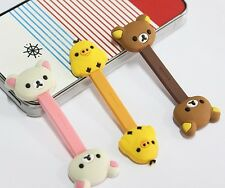 2Pcs Lovely Cartoon Animal Earphone Wrap Cord Cable Holder Winder Organizer L1Y