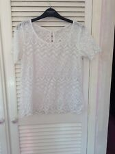 Ladies H & M White Lace Effect Top UK Size 10/ European 38