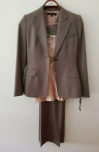 Anne Kleine Taupe Wool Blend Pants Suit with Cami Sz US4/AU10 NWT