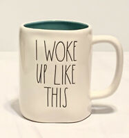 "Rae Dunn ""I WOKE UP LIKE THIS"" Mug White w/ TeaI Inside Ceramic w/ Large Letters"