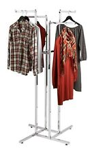 Chrome 4-Way Clothing Rack Square Tubing with 4 Straight Arms