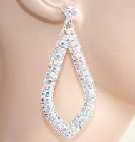 BOUCLES d'oreilles femme argent boréal élégant cristal pendantes mariée F35