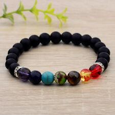 Beads Silver Shim Lucky Energy Bracelets 7 Chakra Men's Fashion Charm 8Mm Matte