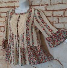 Maeve Top S Flowy Boho Hippy Floral Pintuck Bodice Anthro Peasant Shirt Blouse 6