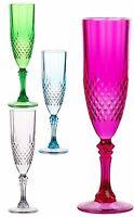 Set 3 Plastic Champagne Flutes Dishwasher Safe Wont Break Pink Blue Green Clear