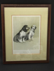 Vintage Framed And Mounted Print By Cecil Aldin 'The Two Sportsmen '