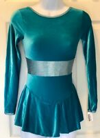 GK LgSLV SEAGLASS VELVET ICE SKATE ADULT X-SMALL HOLOGRAM MIDRIFF DRESS AXS