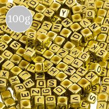 Mixed Alphabet Letter Beads 6mm Acrylic Cubes (Gold) 100g (K33/4)