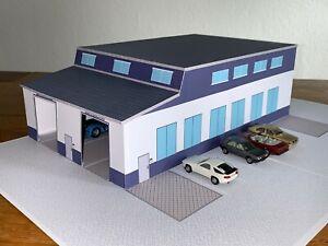 Werkstatt/ Waschhalle passend zu kleine Spedition / 1/87 Kartonmodellbau