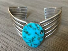 GORGEOUS VINTAGE NAVAJO KINGMAN TURQUOISE & STERLING SILVER CUFF BRACELET