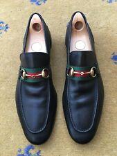 Gucci Mens Shoes Black Leather Web Horsebit Loafers UK 11 US 12 EU 45 Green Red