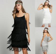 Flapper Swing Damen die Goldenen 20er Gatsby Kleid Charleston Fransen Kostüm