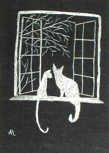 """ACEO Original """"Cats in the Window Silhouette"""" Silk Hand Embroidery - A Lobban"""