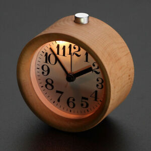 Modern Small Round Silent Table Desk Snooze Beech Wood Alarm Clock Night Light -