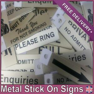 Original Metal stick on Adhesive Signs 8cmX2cm Office Work or Home Peel off Back