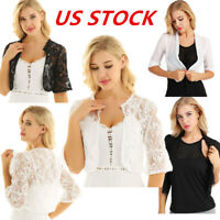 US Womens Flare Lace Half Sleeve Shrug Bolero Ladies Chiffon Open Cardigan Tops
