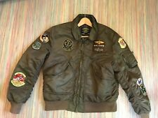 ALPHA INDUSTRIES Mens X-Large Fart-Pac Eagles Patch Bomber Jacket Airborne Peace
