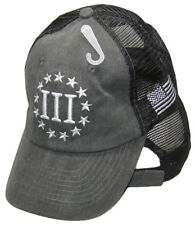 Tactical Embroidered Nyberg 3 Percenters USA Flag Charcoal Washed Mesh Hat Cap