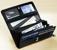 Leder Damen Geldbörse Portmonaise viele Fächer Münztasche mit Reißverschlus 18x9
