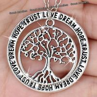 Xmas Gifts For Her - Silver Tree Pendant Necklace Engraved Love Sister Mum Women