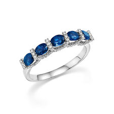 1.40 Ct Natural Diamond Natural Blue Sapphire Ring Sterling Silver Size N M H J