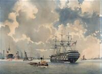 EMERSON HAROLD GROOM (1890-1983) Watercolour Painting HMS WORCESTER GREENHITHE
