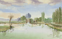 Harry Herbert - Signed 1998 Watercolour, Canal Fishing