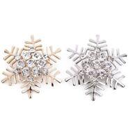 *UK Shop* GOLD SILVER CRYSTAL RHINESTONE SNOWFLAKE CHRISTMAS BROOCH PIN SNOW