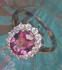 💍 Alexandrite Halo Multi COLOR CHANGE RING Princess Diana Style .925 Silver Sz9