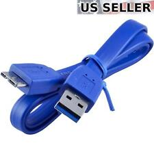 2FT Short Micro USB 3.0 Flat Data Sync & Charging Cable, Blue