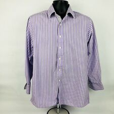 Michael Kors Medium Men's Button Front Shirt Long Sleeve Purple Striped (E)