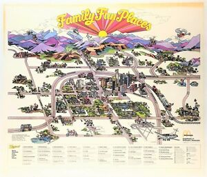 """FAMILY FUN PLACES"" (1973) *DENVER AREA McDONALD'S* Cartoon Map COLORADO ROCKIES"