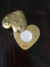 VINTAGE HERMES CALECHE GOLD HEART MAKEUP EYE SHADOW CARRYING CASE HOLDER COMPACT