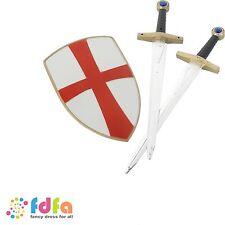 PLASTIC KNIGHT CRUSADER SET - 2 x swords & shield - kids boys toys costume