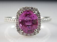 Platinum Pink Sapphire Diamond Halo Ring Pinkish Purple Henri Daussi Estate