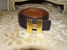 Hermes  Belt Black/Tan Reversible Leather Gold HW