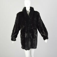 L Black Fur Coat Mink Fur Fox Collar Loose Fit Winter Clutch Silhouette 80s VTG