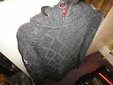 Superdry Rescue Grey Knitted Hooded Cardigan Size M RARE!!!!