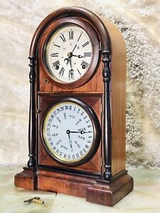 1868 Antique Double Dial USA WELCH Calendar,Months,Day,Keywound ,Striking Clock,
