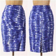ANTHROPOLOGIE Eva Franco Blue Pencil Skirt Size 6-8 Ocean Tie Die Folds Lined