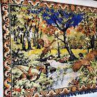 """Vtg. Woven Velvet Tapestry-Pheasant/Wooded Scene-72"""" x 52'"""